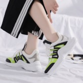 Neon Patchwork Round Toe Lace-Up Casual Women's Sneakers