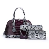 Embossing Alligator PU Shell Tote Bag Set