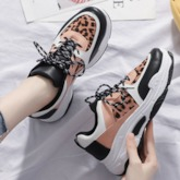 Platform Lace-Up Round Toe Color Block Women's Sneakers