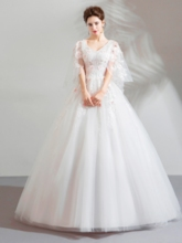 V-Neck Floor-Length Ball Gown Appliques Quinceanera Dress 2019