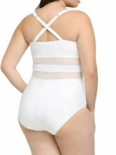 Plus Size One Piece Patchwork Color Block Beach Look Women's Swimwear