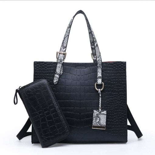 Alligator Thread PU Square Tote Bag Set