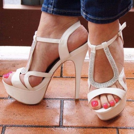Open Toe Buckle Stiletto Heel Low-Cut Upper Rhinestone Sandals