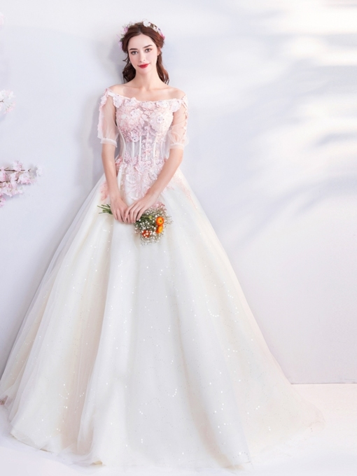 Lace Off-The-Shoulder Short Sleeves Floor-Length Quinceanera Dress 2019