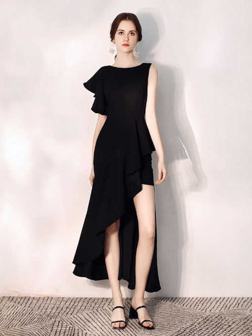Scoop Asymmetry Trumpet Homecoming Dress 2019