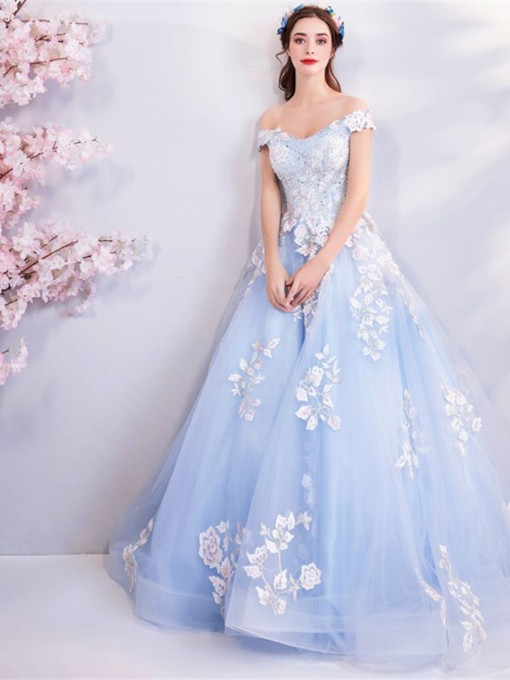 Appliques Off-The-Shoulder Ball Gown Floor-Length Quinceanera Dress 2019