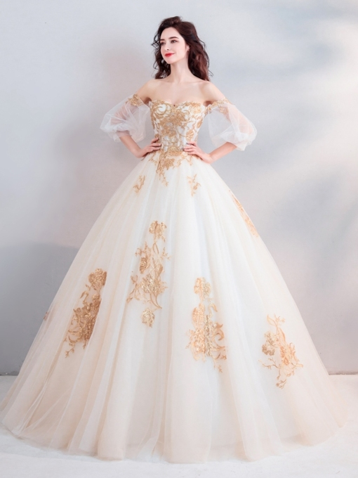 Appliques 3/4 Length Sleeves Floor-Length Ball Gown Quinceanera Dress 2019
