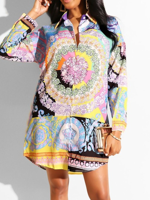Floral Lapel Button Long Women's Blouse