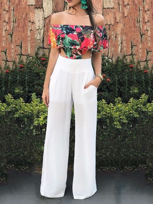 Sexy Floral Full Length Patchwork Straight Women's Jumpsuit