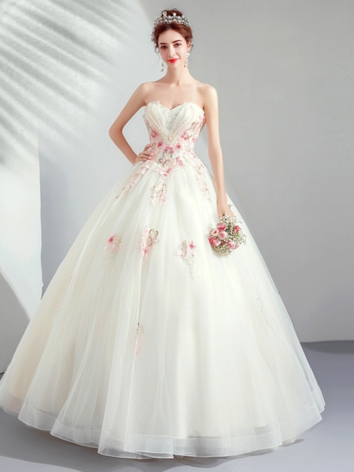 Sleeveless Sweetheart Floor-Length Beading Quinceanera Dress 2019