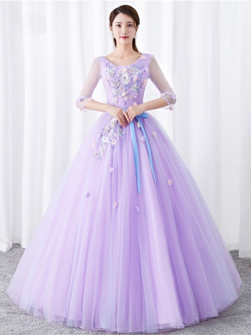 3/4 Length Sleeves Appliques Floor-Length Ball Gown Quinceanera Dress 2019