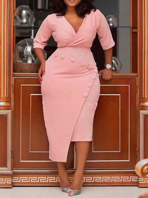 Plus Size Half Sleeve V-Neck Asymmetric Women's Bodycon Dress