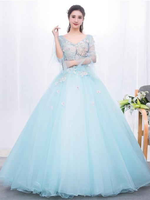 Appliques V-Neck Floor-Length Long Sleeves Quinceanera Dress 2019