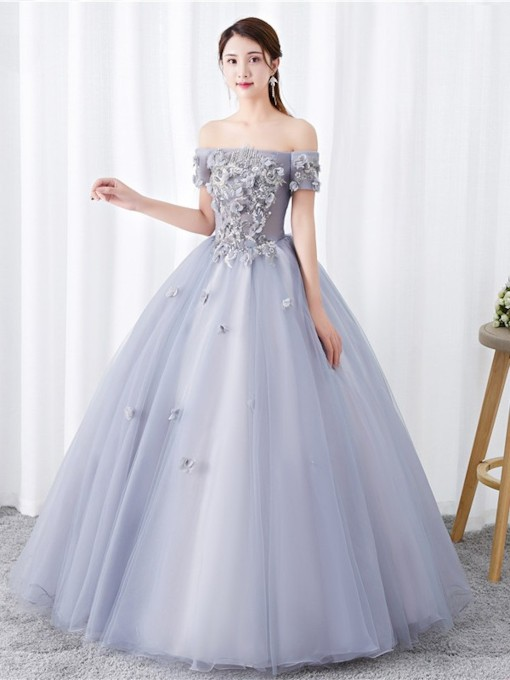 Short Sleeves Ball Gown Appliques Floor-Length Quinceanera Dress 2019