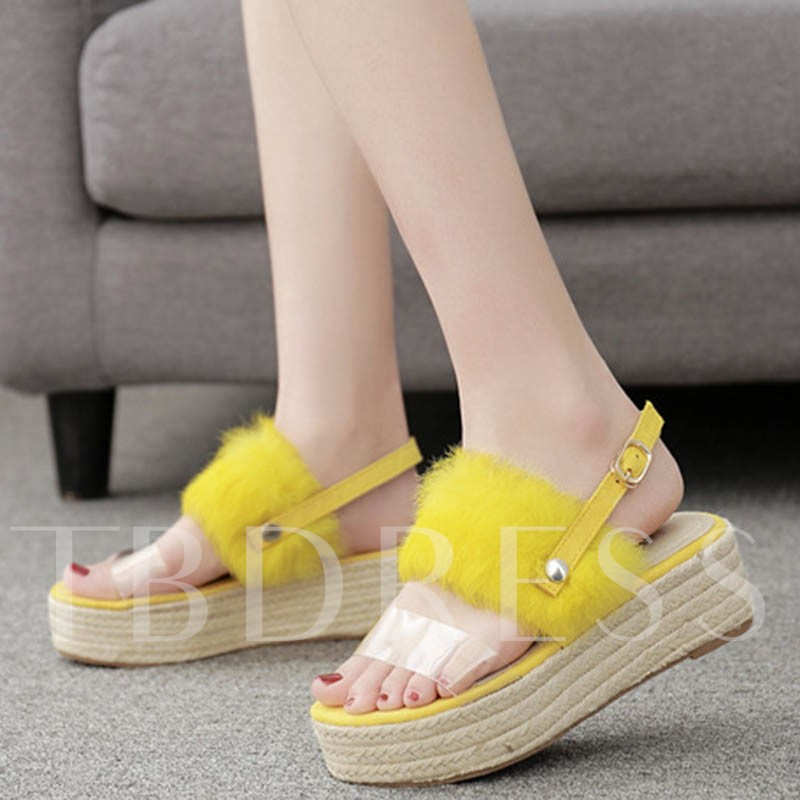Slingback Strap Wedge Heel Buckle Open Toe Women's Sandals