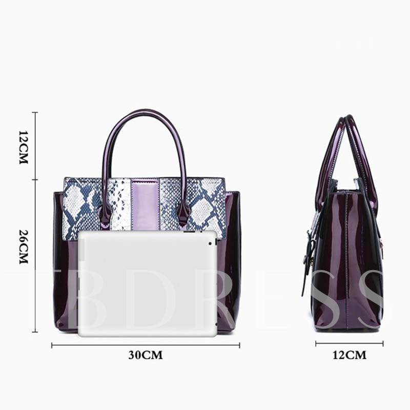 Belt-Decorated Serpentine PU Square Tote Bags