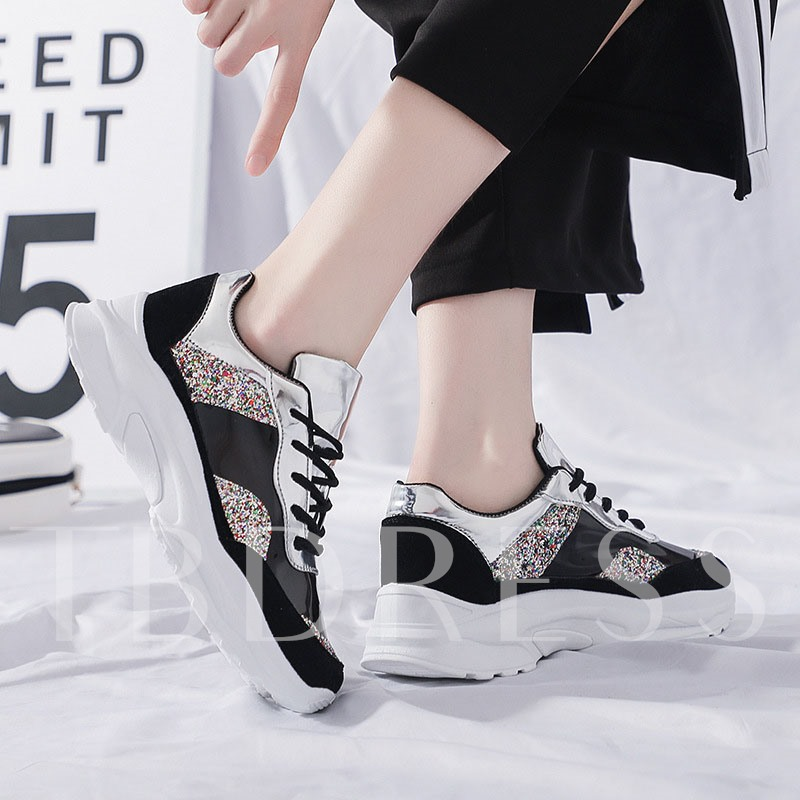 Lace-Up Round Toe Glitter Color Block Women's Sneakers