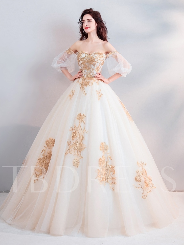 Appliques 3 4 Length Sleeves Floor Length Ball Gown Quinceanera