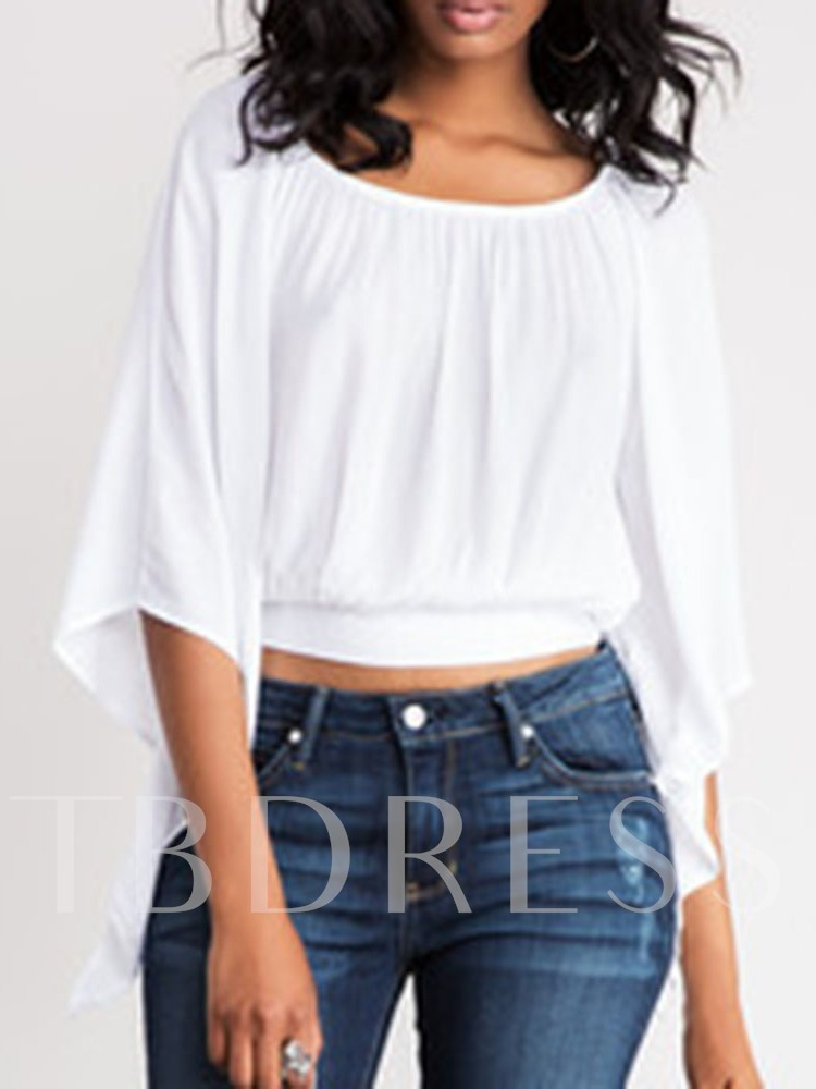 Batwing Sleeve Round Neck Pleated Plain Three-Quarter Sleeve Women's Blouse