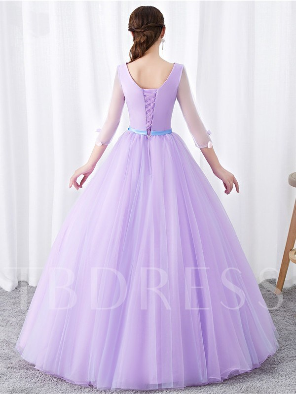 3/4 Length Sleeves Appliques Floor-Length Ball Gown Quinceanera Dress