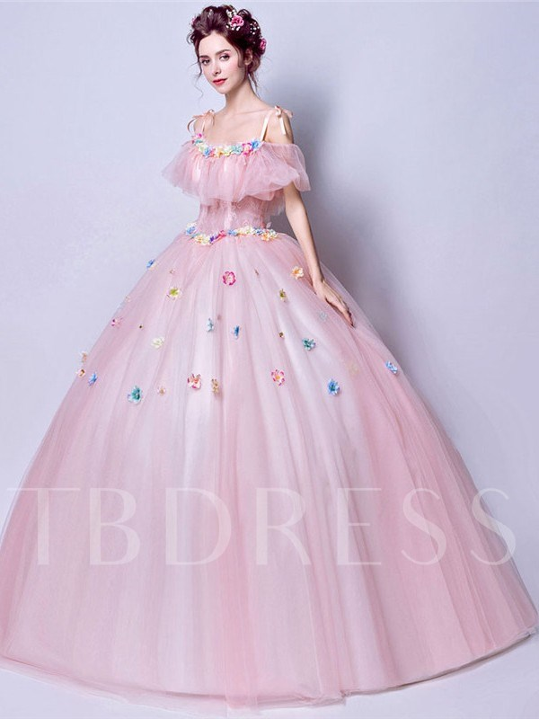 Floor-Length Straps Short Sleeves Ball Gown Quinceanera Dress 2019