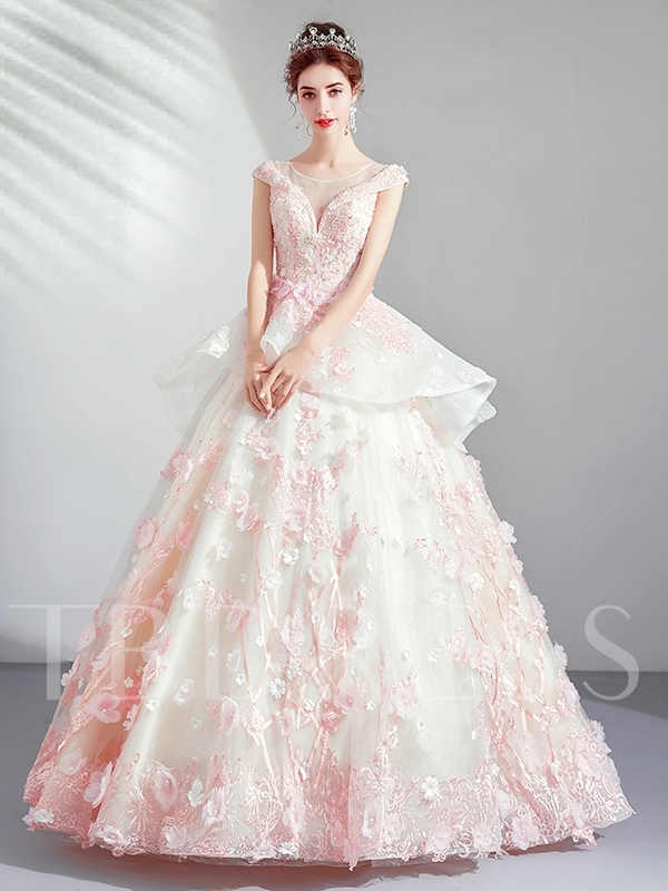 Scoop Ball Gown Floor-Length Appliques Quinceanera Dress 2019