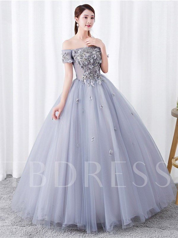 Short Sleeves Ball Gown Appliques Floor-Length Quinceanera Dress