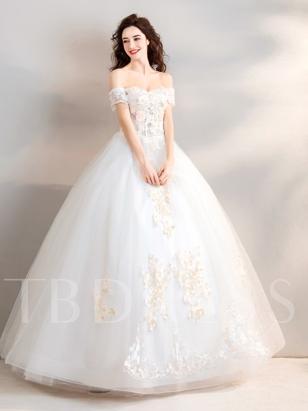 Beading Off-The-Shoulder Floor-Length Short Sleeves Quinceanera Dress 2019