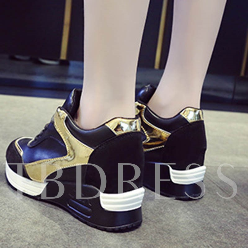 Lace-Up Wedge Heel Round Toe PU Women's Sneakers
