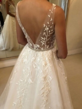 Sheer Straps Beading Embroidery Lace Wedding Dress 2019
