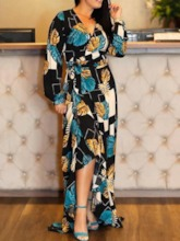 Print Long Sleeve V-Neck Color Block Women's Maxi Dress