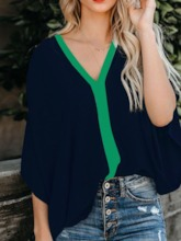 Batwing Sleeve Patchwork Color Block V-Neck Three-Quarter Sleeve Women's Blouse