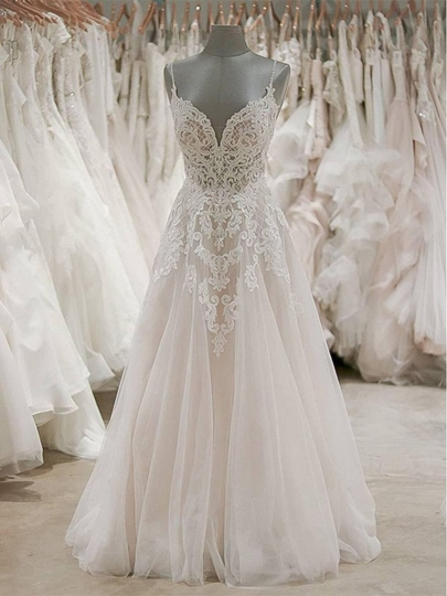 Beading Spaghetti Straps Appliques Wedding Dress 2019 Beading Spaghetti Straps Appliques Wedding Dress 2019