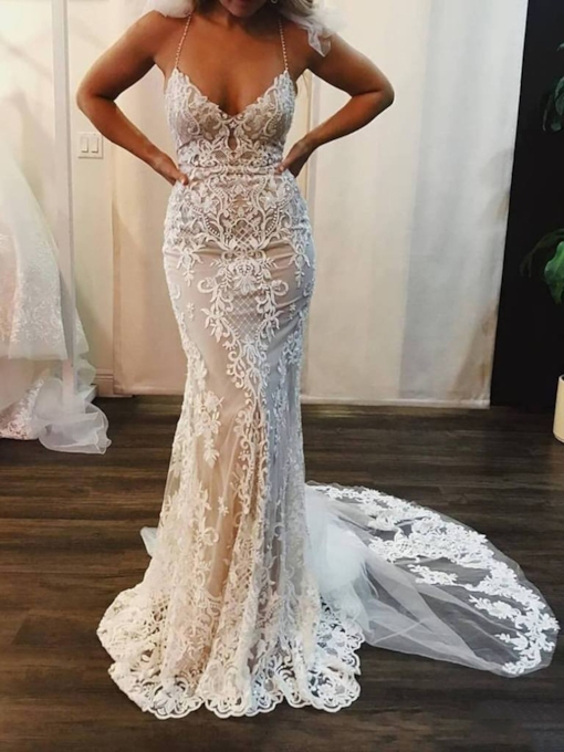 Halter Beading Appliques Mermaid Church Wedding Dress 2019
