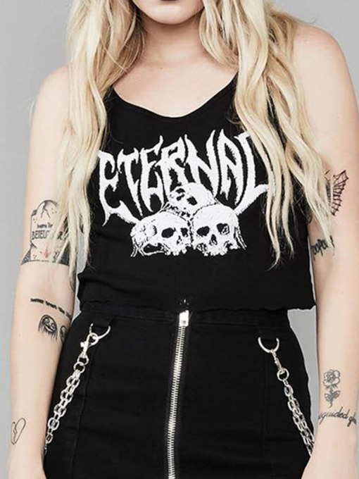 Halloween Costume Suspenders Summer Backless Short Women's Tank Top
