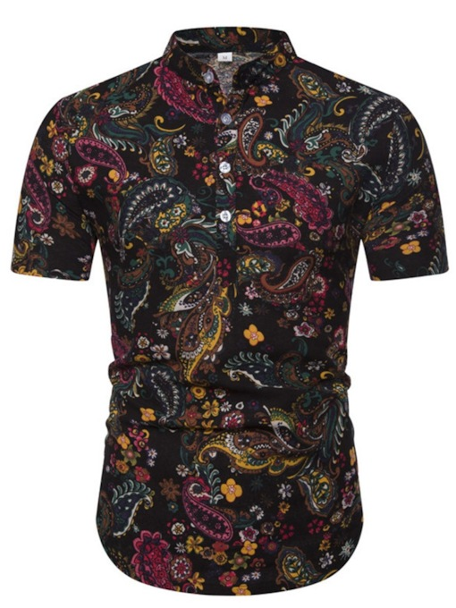Fashion Short Sleeves Color Block Print Floral Fashion Stand Collar Slim Men's Shirt
