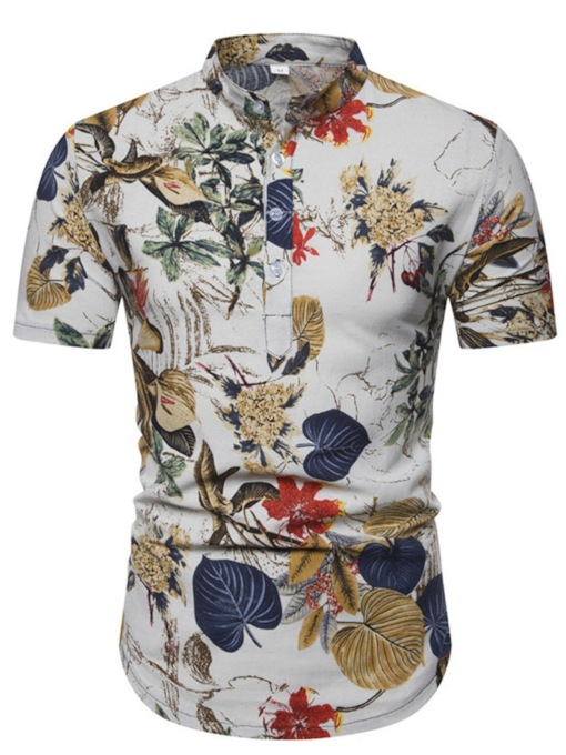 Casual Floral Print Stand Collar Button Plant Summer Men's Shirt