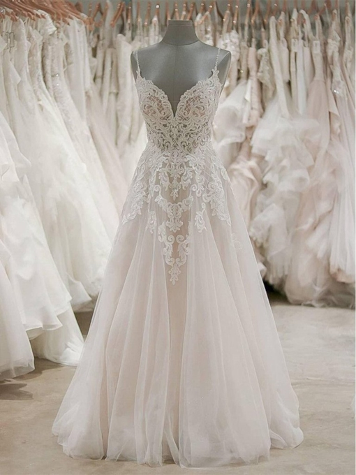 Beading Spaghetti Straps Appliques Wedding Dress 2019