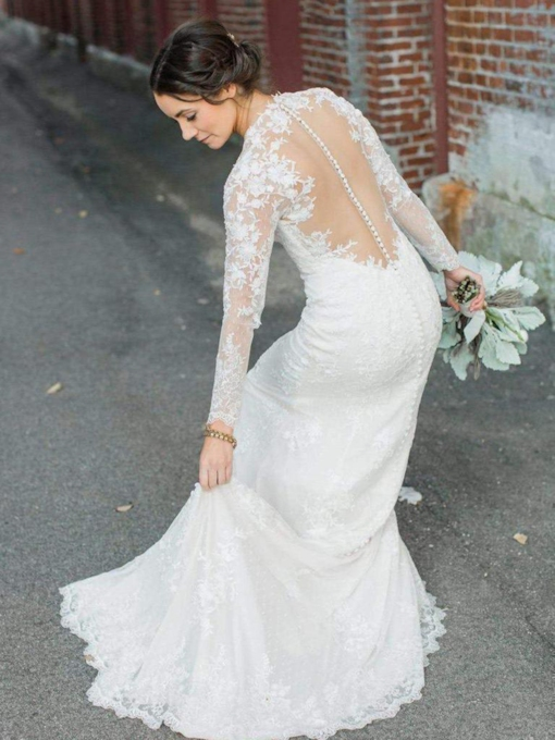 Button Sheer Back Sheath Long Sleeves Lace Wedding Dress 2019