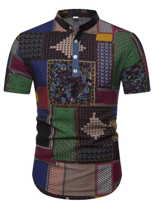 Floral Stand Collar Short Sleeves African Fashion Button Slim Men's Shirt
