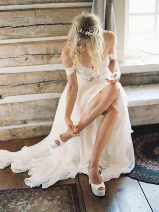 Off the Shoulder Beading Country Wedding Dress