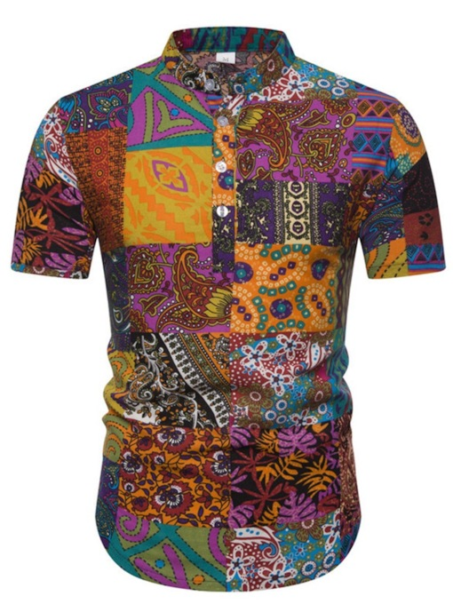 Stand Collar Geometric African Fashion Button Summer Men's Shirt