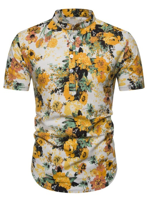 Casual Short Sleeves Floral Print Color Block Stand Collar Print Summer Men's Shirt