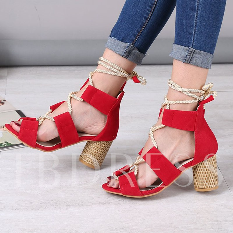 Chunky Heel Peep Toe Lace-Up Thread Women's Sandals
