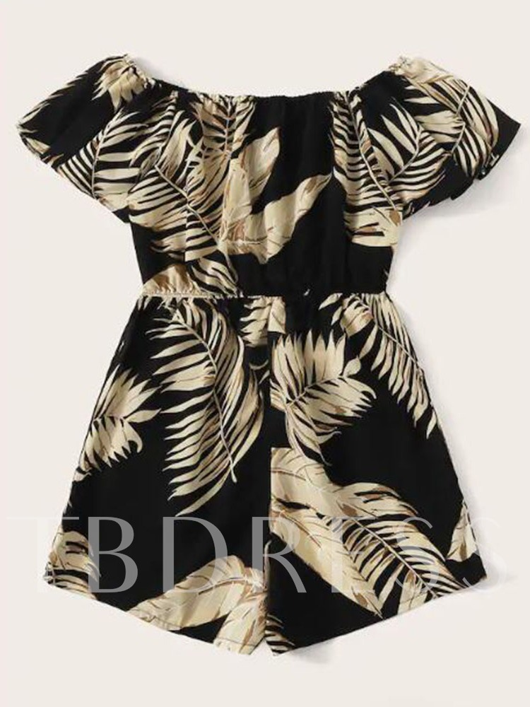 Plus Size Shorts Casual Plant Print Loose Women's Romper