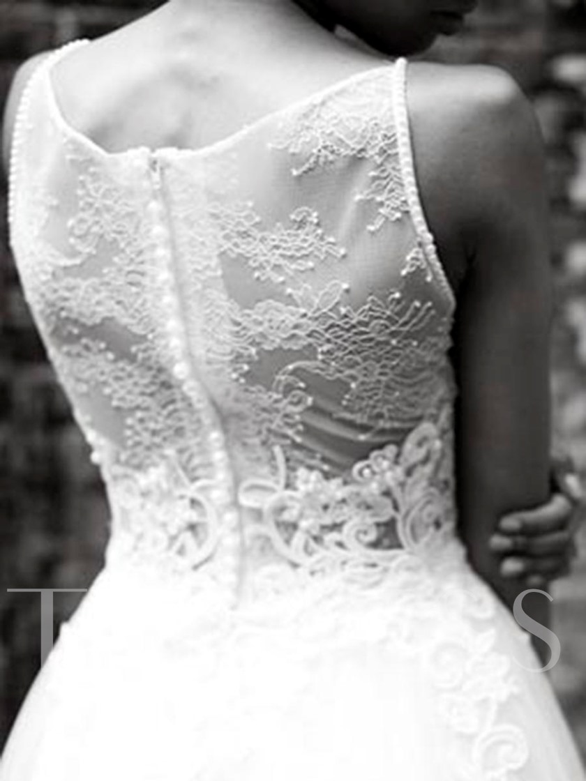 Pearls Spaghetti Straps Lace Outdoor Wedding Dress 2019