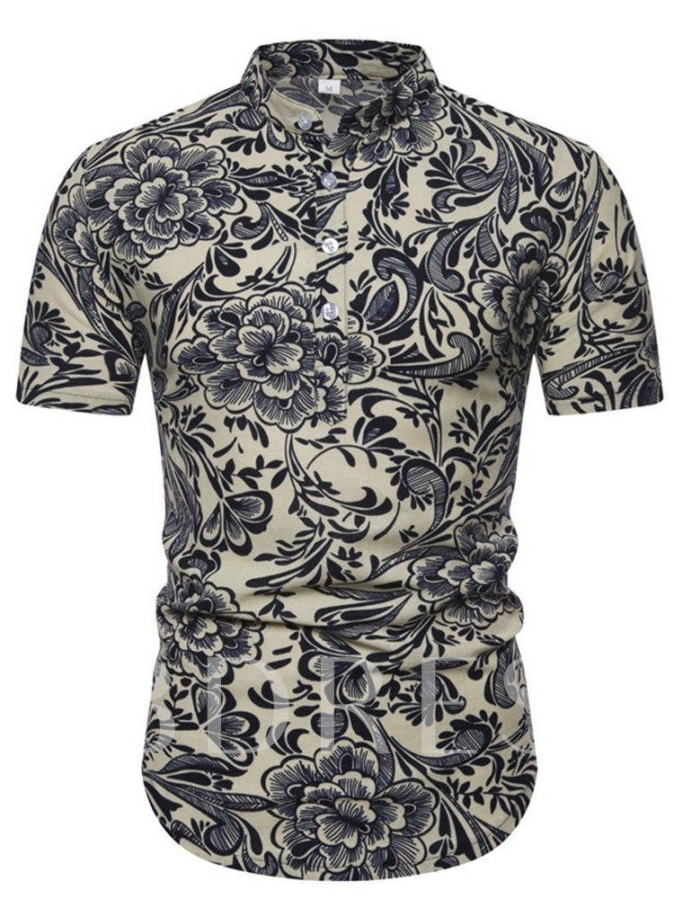 Short Sleeves Color Block Casual Floral Print Stand Collar Print Slim Fit Men's Shirt
