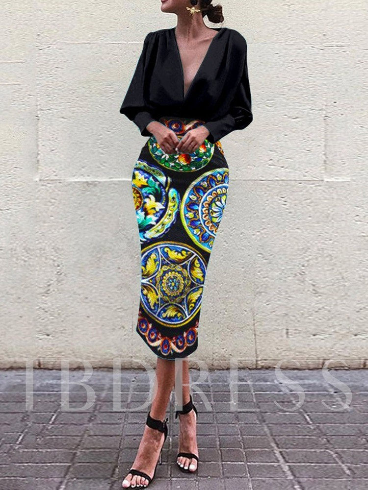 Long Sleeve Stand Collar Print Mid Waist Women's Maxi Dress