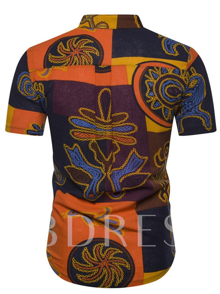 African Fashion Stand Collar Color Block Fashion Button Summer Men's Shirt