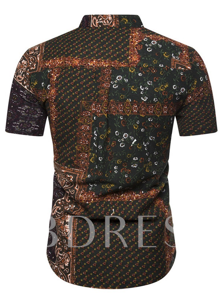 Fashion Short Sleeves Floral Stand Collar Button Summer Men's Shirt